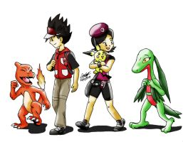 Trainers Crimson and Fuchsia with their Pokemon by OptimusConvoy
