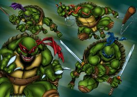 Teenage Mutant Ninja Turtles Colored by likwidlead