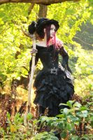 Stock - Halloween witch staff crow sideview by S-T-A-R-gazer