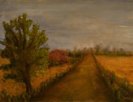 Red barn and orange fields by komedian