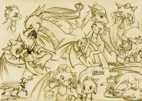 Staceel Dragon Sketches by Wollfisch