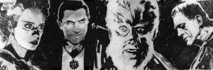 Universal Monsters banner for Blastoff Comics by elena-casagrande
