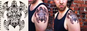 Tribal Turtle Tattoo: Design + Final by L-i-t-h-e-l