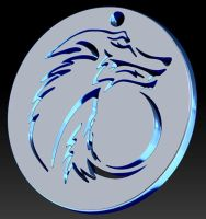Tribal Wolf Moon Pendant Version 2 by Vargulfen