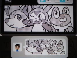 Miiverse - Fennekin, Chespin, and Froakie by MAST3RLINKX