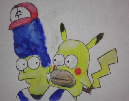 Marge Ketchum and Homerchu by QuixoticouS