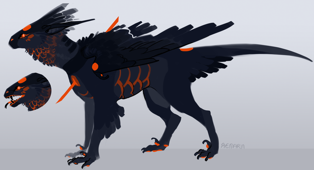 ADOPT -Sold- poofy dragon birb by Remarin