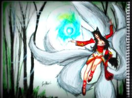 Ahri Drawing - League Of Legends by GuillermoAntil