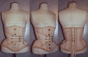 Tea dying underbust corset in pirate steampunk sty by AtelierSylpheCorsets