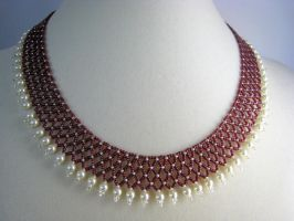 Red, White and Pearl Necklace by BeadfulStrings