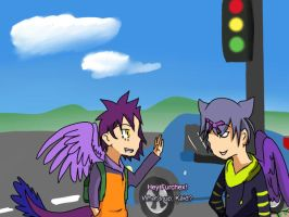 Furchex and Kaid at the Traffic Lights by Windaura