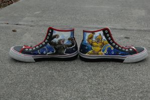 Super Saiyan 4 shoes - opposite sides by societymisfit