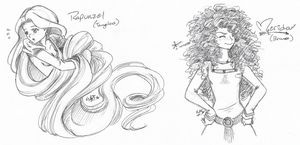 Disney FanArt - Rapunzel and Merida by Blue-Starr