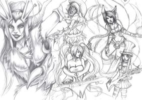 League of Ladies WIP by Kerozzart