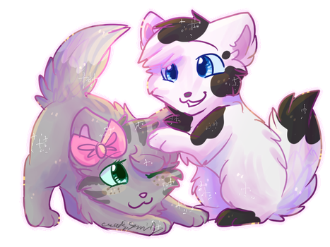 Silver and Rainbow Chibis by CascadingSerenity