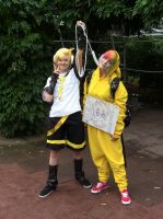 Pikachu and Len by Mika-nii