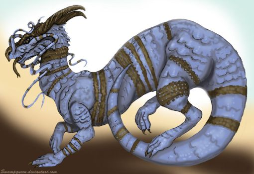 White and Gold / Blue and Black Dragon by Swampqueen
