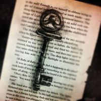 Skeleton Key on Book Page by Ancora-Kimberley
