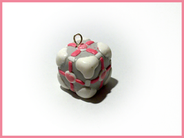 Another Portal Companion Cube - Cell Phone Strap by CookingMaru