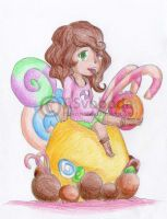 Coloured chibi: Candie by TiaVon