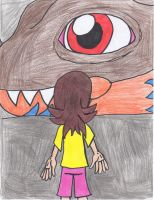 (OC) Young Iris meets Greymon by Piplup88908