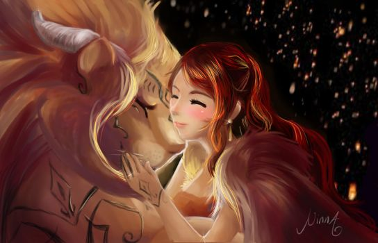A girl and a lion by NaNinna