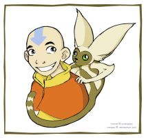 Aang and Momo by StressedJenny