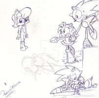 .:Doodles of Sonic,Amy and Sally:. by PhoenixSAlover