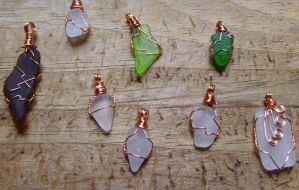 Sea Glass Pendants by OdinsBeadHall