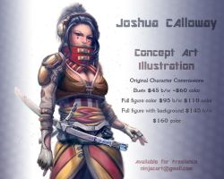 Character commission pricing. by JoshCalloway