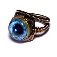Frost Blue eye Steampunk Ring by CatherinetteRings