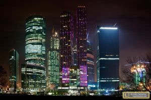 Moscow City Business Centre at Night by luxphotostore