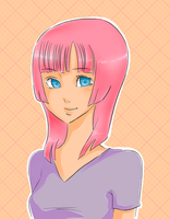 Pink haired girl by lonehuntress