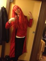 Cosplaying as Grell after styling the wig 02 by DJ-Zemar