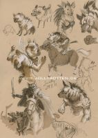 Gnoll Sketches by JollyRotten