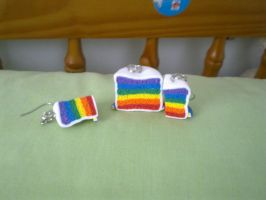 Polymer Clay Rainbow Cake Set by FullmetalDemigod