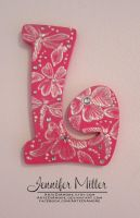 Pink Initial Wall Hanging by ArteDiAmore
