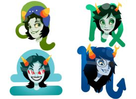 Homestuck Troll Stickers 2/3 by BrookiexMonster