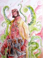 Hellboy, watercolor by Ultrafpc