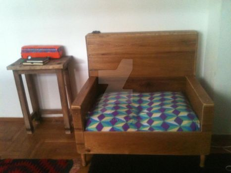 hand made arm chair from spare floor pannels by zanderednaz