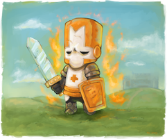 Castle Crashers-Orange Knight by PK-Noes