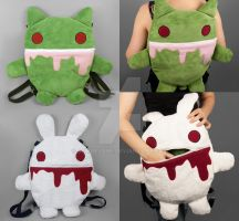 Zombie Kitty / Killer Rabbit Reversible Backpack by SewDesuNe
