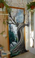 Whomping willow on a door ^^ by WormholePaintings