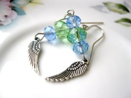 green and blue wing earrings by faranway