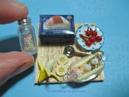 Miniature Banana Split Ice Cream Prep Board by ilovelittlethings