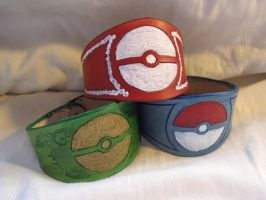 Pokeball Leather Bracelets by TheScreamingNorth