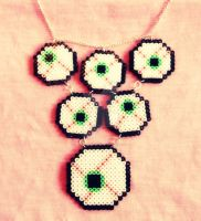 Hama Bead Eyeball Necklace. by obscurepastels