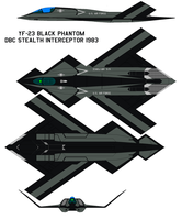 YF-23 black phantom  DBC Stealth Interceptor 1983 by bagera3005