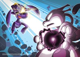 Mewtwo versus Genesect by SupaCrikeyDave