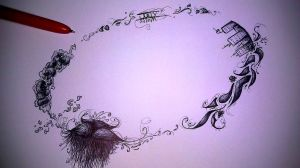 A Circle Of Life Pen Drawing by MssMime